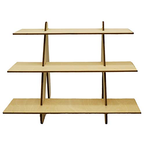 40cm Wide Portable Unfinished Wood 3 Tier Shelf Organizer Craft Booth Display Product Display for Craft Fairs Trade Show, Farmers Markets