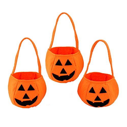 3 Pcs Halloween Pumpkin Bags, Candy Bag for Boys and Girls, Eocol Kids Trick or Treat Bags for Party (Cheap Halloween Baskets)