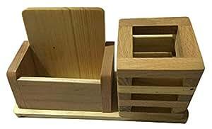 Wooden Pen Stand Office Stationery Wooden Brush Pot Mobile Holder for Office Desk,Wooden Remote Holder