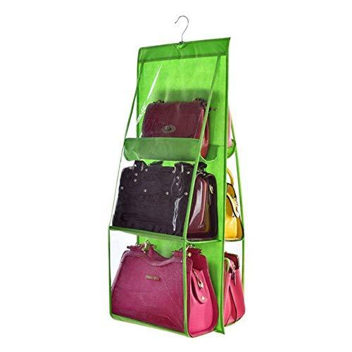 (MOPOLIS 6 Pocket Shelf Purse Handbag Hanging Tidy Organizer Storage Closet Rack Hanger (Color - Green))
