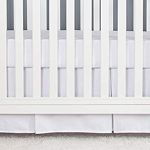 Cotton Metrics Linen 800TC 100% Pure Cotton Tailored Crib Bed Skirt Pleated 14 Inches Long for Baby Girls and Boys (Color - White) ()