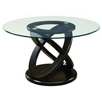 Monarch Tempered Glass Dining Table, 48-Inch Diameter, Dark Espresso