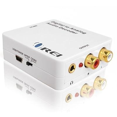 Orei DA34 Digital to Analog Audio Decoder SPDIF/Coaxial 5.1-Channel Input to RCA L/R/3.5mm Headphone Output Style: Digital to Analog Decoder