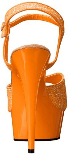 Orange Abierta Delight Pleaser Gltr Neon con Orange Mujer para Punta Sandalias 609uvg wgxfPxqCn