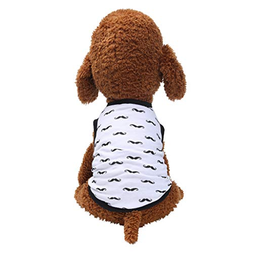 - Pet Shirts,Dog Cat Vest Breathable Moustache Plaid Print Comfy Puppy Apparel (S, White)