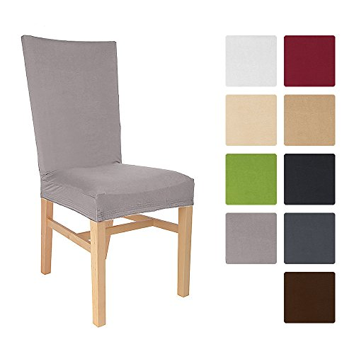 Beautissu® Stuhlhusse Emma - 45x45 cm Stretch-Stuhlbezug aus Baumwolle - Bi-Elastic Husse - ÖKO-TEX - Granit Grau