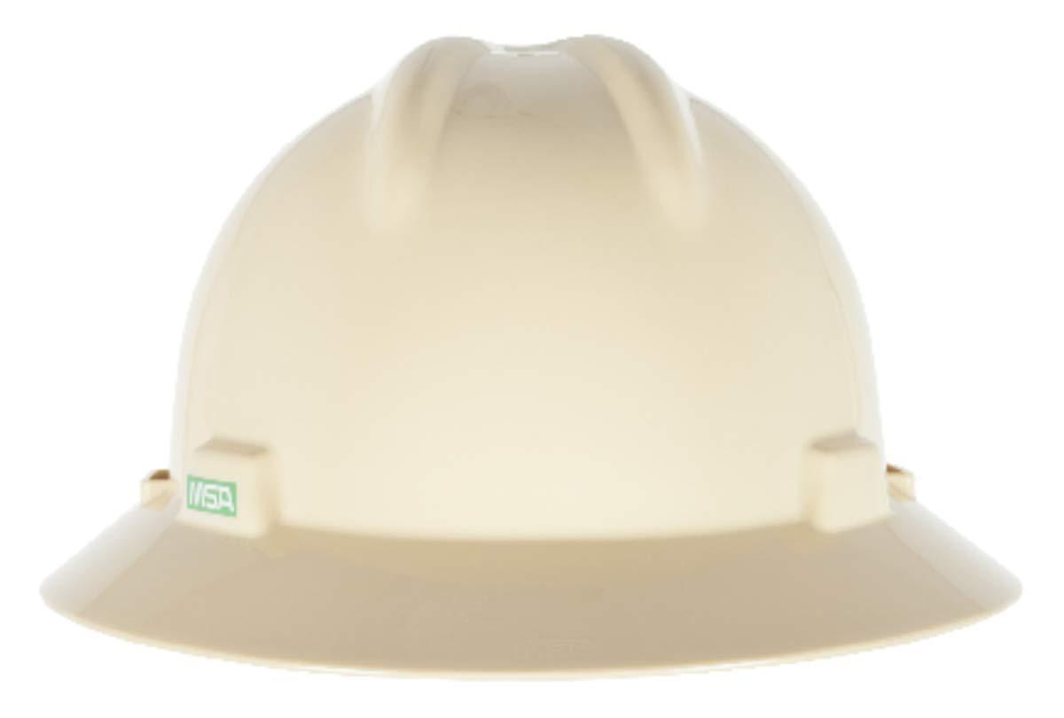 MSA Light Buff Polyethylene Full Brim Hard Hat With 4 Point Pinlock Suspension - Pack of 20