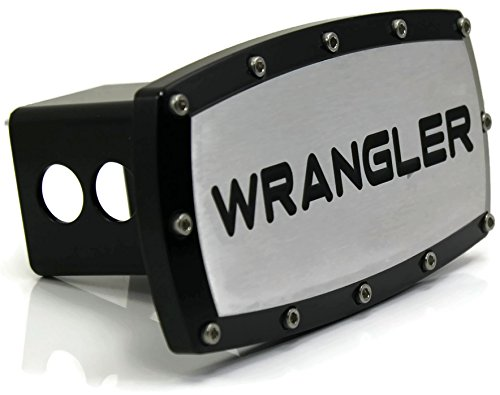"""Jeep Wrangler 2"""" Tow Hitch Cover Plug Engraved Billet Black"""