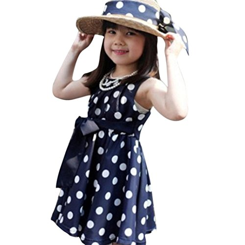 Bokeley Clearance!Baby Girl Dress, Newborn Toddler Infant Kids Baby Girl Clothing Polka Dot Girl Chiffon Sundress Dress Outfits Set (Blue, (Polka Dot Kids Clothes)