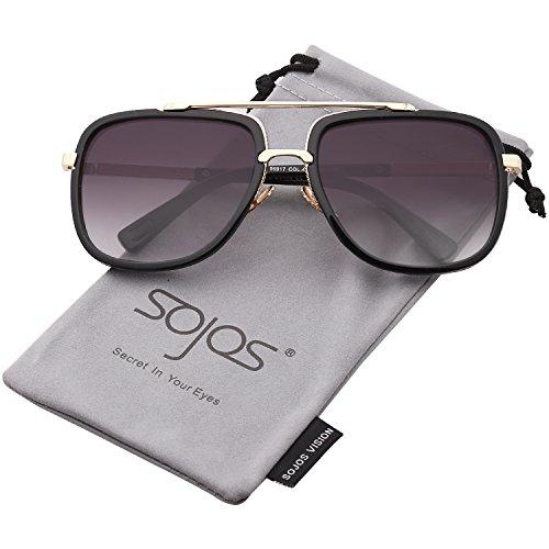 SOJOS Classic Square Aviator Sunglasses Oversized Double Bar Metal Frame SJ1080 SJ2043 with Black Frame/Gradient Grey Lens