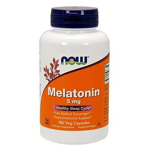 NOW Melatonin 5 mg,180 Veg Capsules