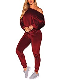 Women Velvet Off Shoulder Sweatshirt Jogger Pants Two Piece Set Tracksuit