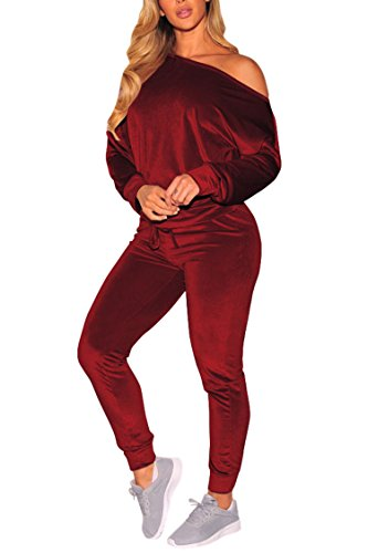 - 2PC Outfit Bare Shoulder Long Sleeve Top Drawstring Skinny Pant Velvet Sweatsuit Women XL Red