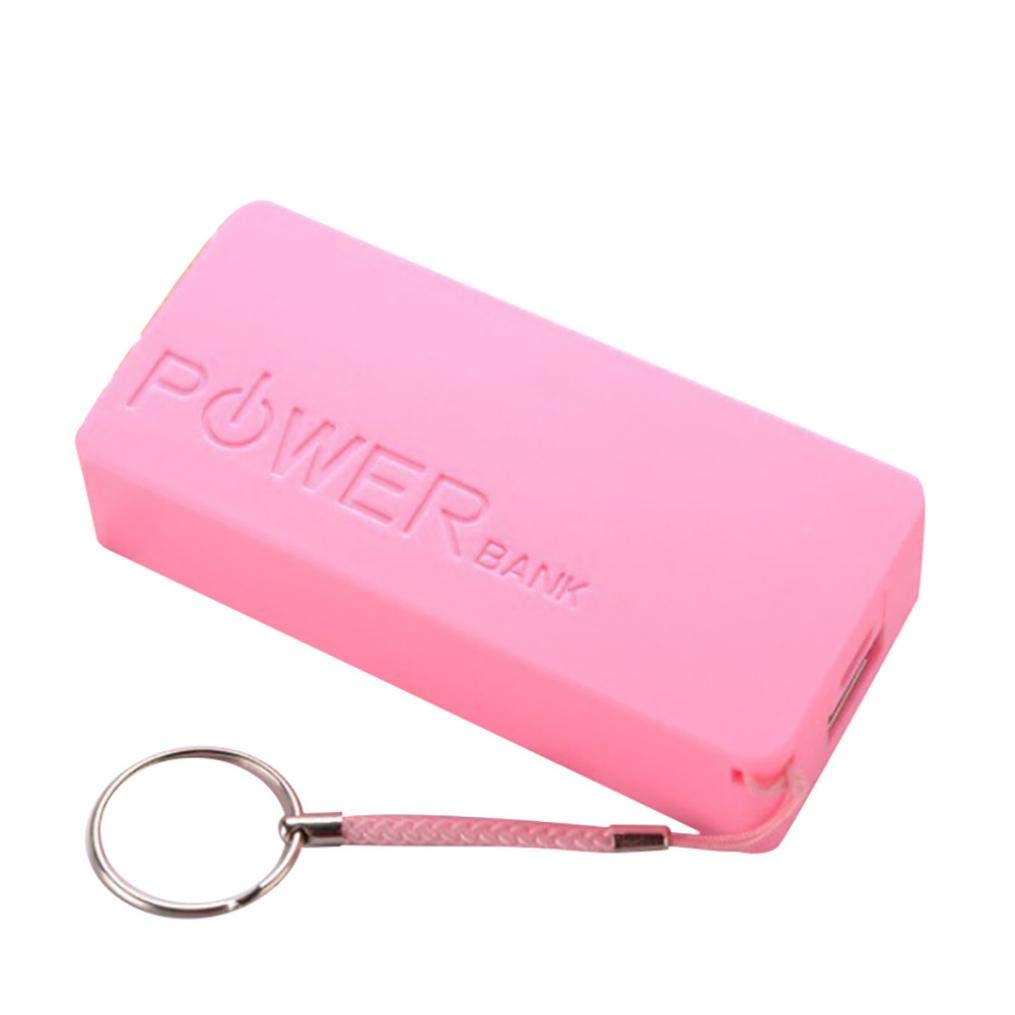 Seamount 5600mAh Portable Charger,2X 18650 USB Power Bank Battery Charger Case DIY Box for iPhone/Sumsang (Pink)
