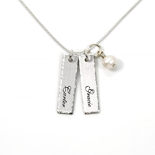 AJ's Collection Double Bar Sterling Silver Personalized Necklace with Swarovski Pearl. Includes 2 Customizable Charms and your Choice of Sterling Silver Chain. Gifts for Her, Mom, (Double Name Necklace)