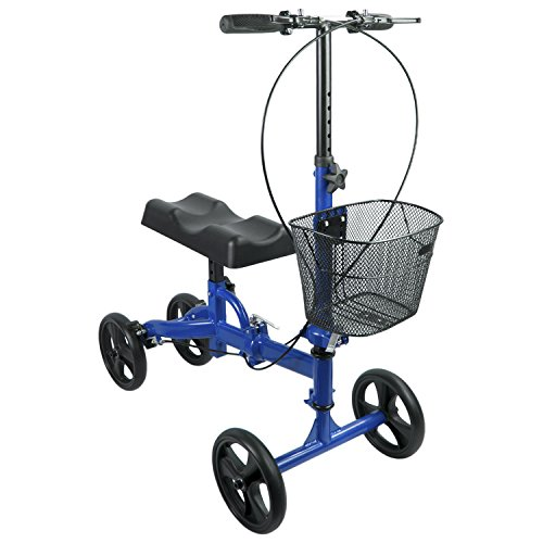Elevens Steerable Knee Walker with Lockable Brake, Medical Knee Scooter Alternative to Crutches for Broken Leg and Foot (18' Steel Wheelchair)