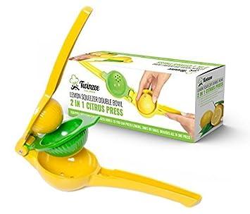 Exprimidor manual de limón Twinzee - Hecho de aluminio – Exprimidor de cítricos – Diseño único con 2 cuencos incorporados en un exprimidor de limones – Exprimidor de limones