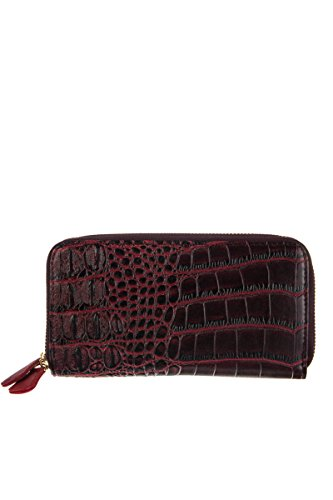 lcolette Cricodile Double Zipper Accented Wallet With Wrist Strap csw200 (burgundy)