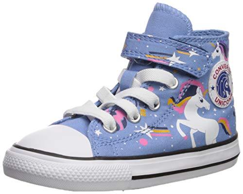 Converse Girls' Chuck Taylor All Star 1V Unicons Sneaker, Light Blue/Black/White, 2 M US Infant
