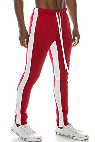 (JC DISTRO Mens Slim Fit Side Striped Color Jogger Pants W/Ankle Zipper Redwhite XL)