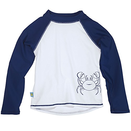 - Sun Smarties Baby-Boys UPF 50+ Long Sleeve Crab Rashguard 18M Navy Blue White