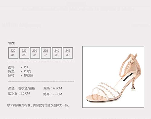 Transparent Shoes color Rough Drill Simple Sexy Heels KPHY Sandals And Champagne Fashion Buckle 7Cm Summer High Women'S qazx8w6