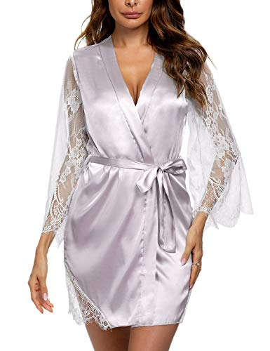 Macolily Women's Sleepwear Kimono Robe Lace Satin Silk Lingerie V-Neck Short Bridesmaids Robe Bathrobe S-XXL