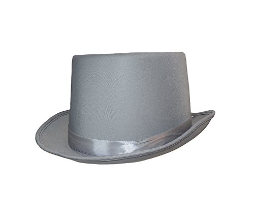 Beistle Adult Classic Satin Top Hat Silver Grey One Size