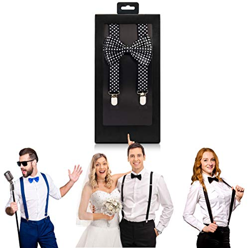 (McWay Bowtie and Suspender Set For Men, Adults | Premium Quality | With Gift Box | Wide And Adjustable | Classy Design (Black & White Polka Dot))