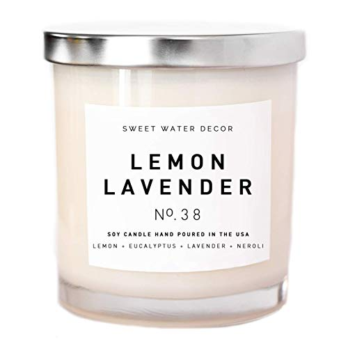 Lemon Lavender Natural Soy Wax Candle White Jar Eucalyptus Neroli Scent Spa Candle Home Decor Bathroom Accessories Relaxation Candle Bathroom Accessory Made in USA Lead Free Cotton Wick Relax Gift