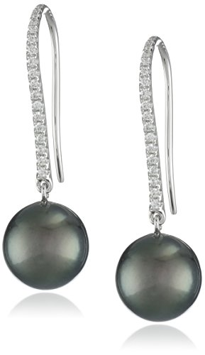 18k White Gold 9.5-10mm Cultured Tahitian Pearl Diamond Drop Earrings (1/10cttw, H-I Color, SI1-SI2 Clarity) -