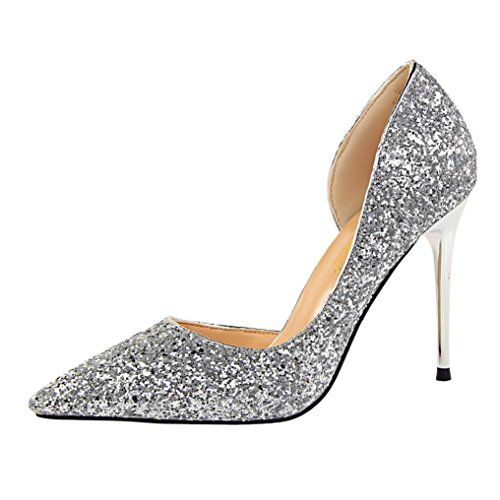 Womens Shoes Leedford Women Pumps Elegant Rhinestone High Heels Shoes Sexy Thin Pointed Single Shoes (US:5, Beige) (US:6, Silver)
