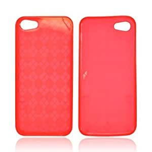 Argyle Red Apple Iphone 5 Crystal Soft Rubbery Feel Silicone Skin Case Cover