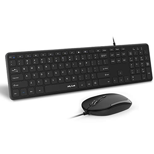 Wired Keyboard and Mouse, Jelly Comb 2.4GHz Ultra Thin Full Size USB Keyboard and Mouse with Number Pad for Computer, Laptop, PC, Desktop, Notebook, Windows 7, 8, 10 - - Mouse Keyboard Stylish Usb