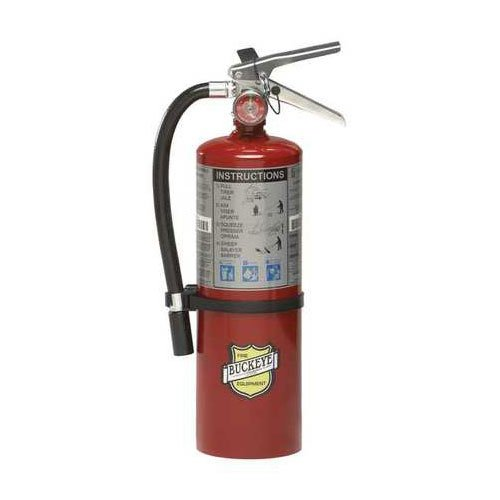 (Lot of 2) 5 Lb. Type ABC Dry Chemical Fire Extinguishers with Vehicle Brackets and Free Signs