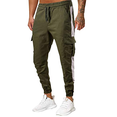 MIS1950s Men's Elastic Fitness Trouser Patchwork Casual Drawstring Training Jogger Athletic Pants Sweatpants (Nba String Lights)