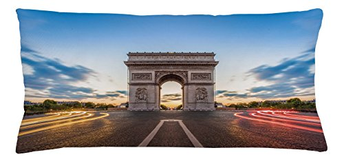 European Throw Pillow Cushion Cover by Ambesonne, Paris Famous Champs Elysees Avenue Historical Monument French Culture Panorama, Decorative Square Accent Pillow Case, 36 X 16 Inches, - Avenue Cafe De L Paris