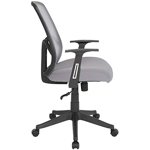 StarSun Depot Salerno Series High Back Light Gray Mesh Chair with Arms 26.5'' W x 26.5'' D x 37'' - 41'' H