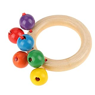 Baby Wooden Rattles Clutching Toy Infant Early Musical Educational Toys(Ring-Shaped)