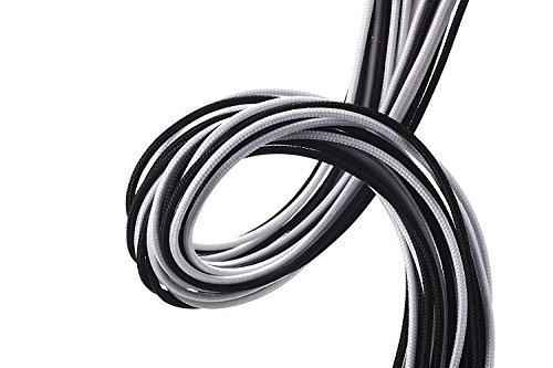 upHere Sleeved Cable - Cable extension for power supply with extra-sleeved 24 PIN 8PIN 6PIN 4+4 PIN 500mm Length With COMBS,Black/White(19.7 inch/50CM) SC508 by upHere (Image #1)