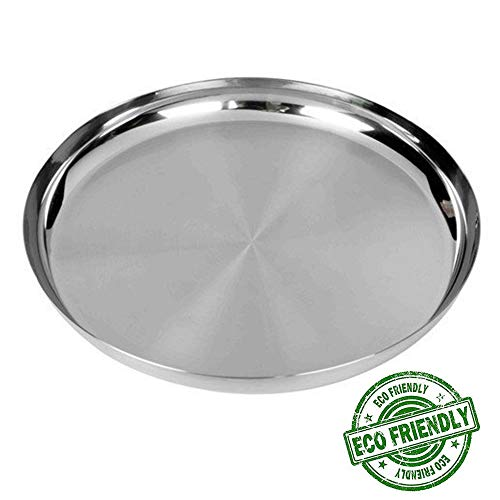 Stainless Steel Round Plates, Plates for Kids Thalis for Dinner Plate Silver Color Size 12 X 12 Inch, Easter Day/Mothers Day/Good Friday Gift -