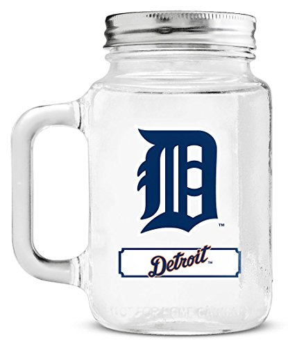 One Oz Tin 20 - Duck House 1 Pc, Detroit Tigers Mason Jar Glass With Lid, Wide-Mouth Opening, Glass Handle & Tin Screw-On Cap, BPA Free & Lead Free, Dimensions: 3.5