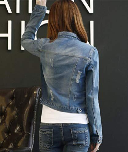 Light Howme Classics Plus Sleeve Ripped Size Long Trucker Jacket Hole Blue Women ggWqHvT