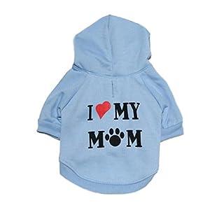 Howstar Pet Clothes, Puppy Hoodie Sweater Dog Coat Warm Sweatshirt Love My Mom Printed Shirt (M, Blue)