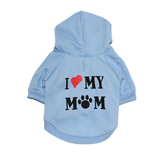 Howstar Pet Clothes, Puppy Hoodie Sweater Dog Coat Warm Sweatshirt Love My Mom Printed Shirt (L, Blue) - Hoodie Pet Dog Clothing