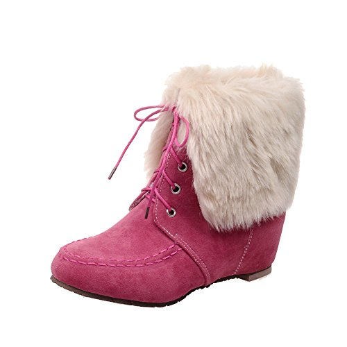 AgooLar Women's Frosted Round Closed Toe Solid Low Top Low Heels Boots Pink AYh2l