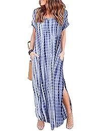 Women's Casual Pocket Beach Long Dress Short Sleeve Split...