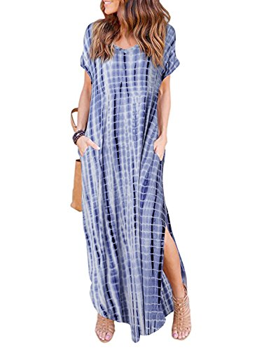 (HUSKARY Womens Casual Pocket Beach Long Dress Short Sleeve Split Loose Maxi Dress, Tie-Dye, X-Large)