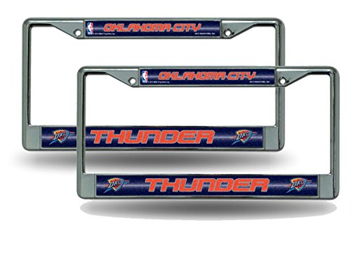 Rico Oklahoma City Thunder NBA Chrome Metal (2) Bling License Plate Frame Set by Rico
