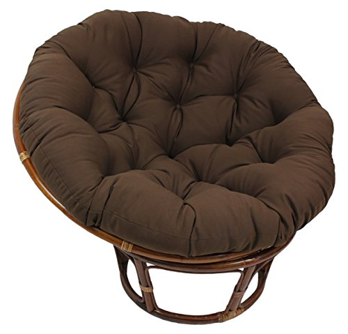 Blazing Needles Solid Twill Papasan Chair Cushion, 52″ x 6″ x 52″, Chocolate
